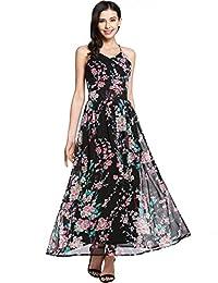 Meaneor Women's Floral Print Backless Halter Neck Chiffon Maxi Long Beach Dress