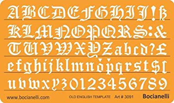 20mm Old English Lettering Letters Art Craft Guide Drawing Drafting Template Stencil Metric