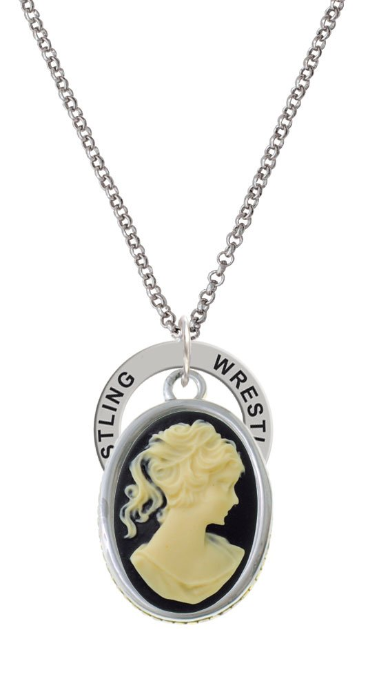 Oval - Black Cameo - Wrestling Affirmation Ring Necklace by Delight Jewelry