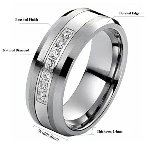 Tungsten Carbide Diamond Men's Wedding Band .20CTW (H-I I2),size 12 by AX Jewelry (Image #4)