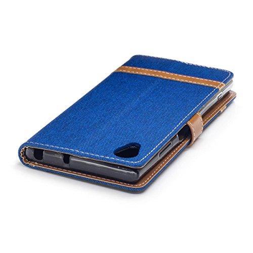 Sony Xperia XA1 Plus Funda Negro, MEETER Libro PU Cuero Case Con Flip case cover, Cierre Magnético, Función de Soporte, Tarjeta y efectivo titular, Billetera con Tapa para Sony Xperia XA1 Plus, Color  Azul marino
