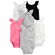 Simple Joys by Carter's Baby Girls' 6-Pack Sleeveless Bodysuit, Black, White Pink Ruffle, 0-3 Months