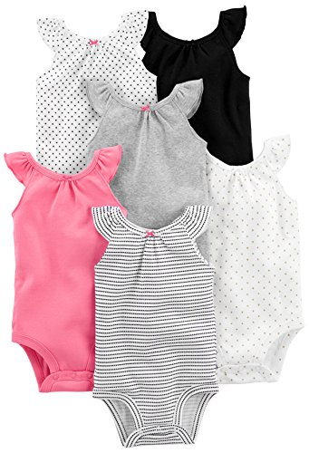 Simple Joys by Carter's Baby Girls' 6-Pack Sleeveless Bodysuit, Black, White Pink Ruffle, 12 Months