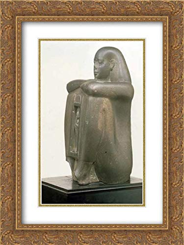 - Late Period, Saite Period - 18x24 Gold Ornate Frame and Double Matted Museum Art Print - Naophorous Block Statue of a Governor of SAIS, Psamtikseneb