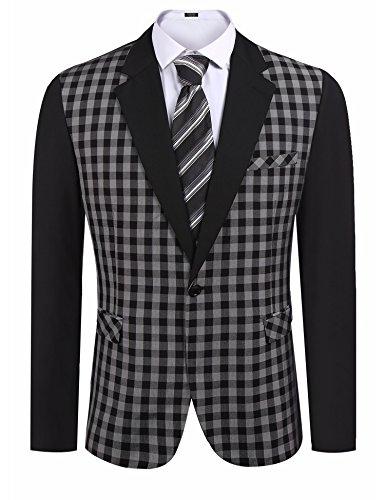COOFANDY Men's Classic Slim Fit Dress Suit Button Plaid Blazer Coat (Smart Classic Suit)