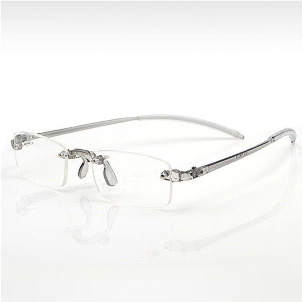 Sundatebe Men Women Lightweight Clear Rimless Resin Reading Glasses (+1.50)