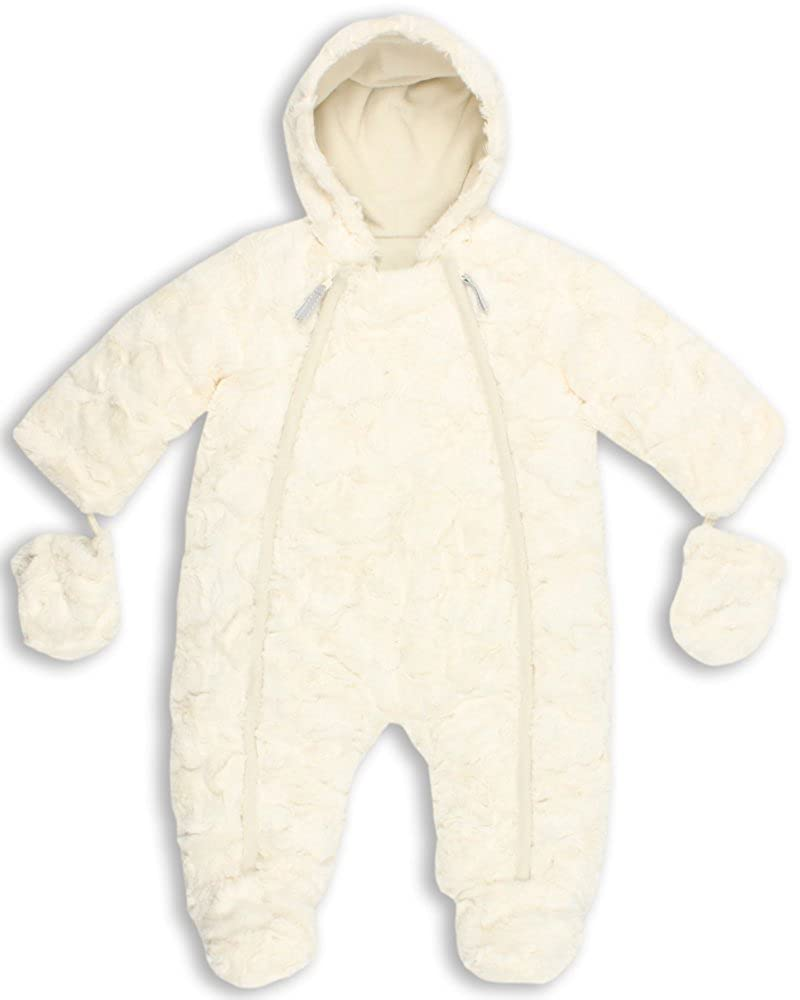 The Essential One - Baby Unisex Luxury Fur Snowsuit/Pramsuit - Cream - EO141