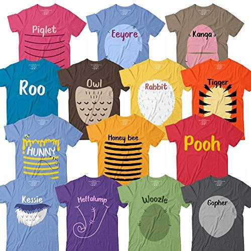 Winnie Bear & Friends Roo-Owl-Eeyore-Kanga-Tiger-Rabbit-Piglet-Bee-Hunny-Woozle-Gopher Halloween Costume Matching Group Shirt Customized Handmade Hoodie/Sweater/Long Sleeve/Tank Top/Premium T-shirt ()