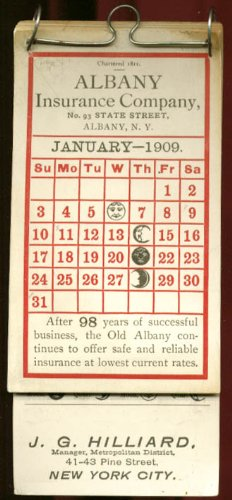 Albany Insurance J G Hilliard NYC calendar 1909