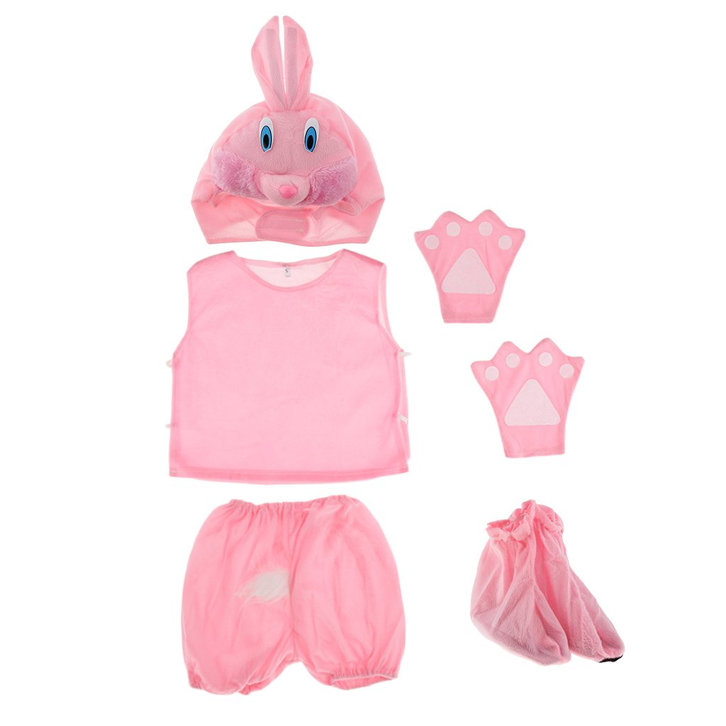 Baoblaze Pack of 5pcs Kids Boys Girls Animal Fancy Dress Tops Shorts Shoes Costume Party Dressing up Book Day Accessory 5pcs Set - Pink rabbit
