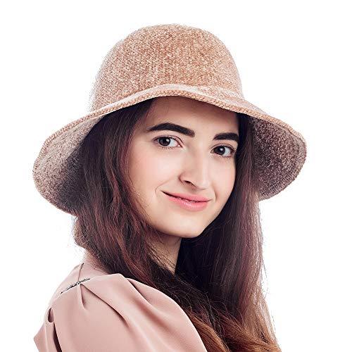 Winter Hats for Women, Foldable Knit Bucket Hat, Fashion Warm Windproof (L18F5011, Camel Beige)