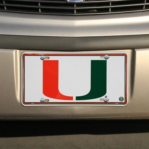 - HangTime Miami Hurricanes Embossed White Metal License Plate