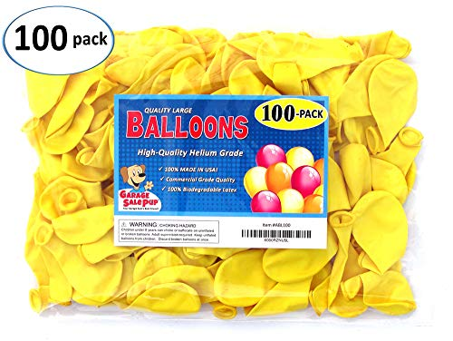 Pack of 100, Bright Yellow Color Latex Balloons, MADE IN USA!