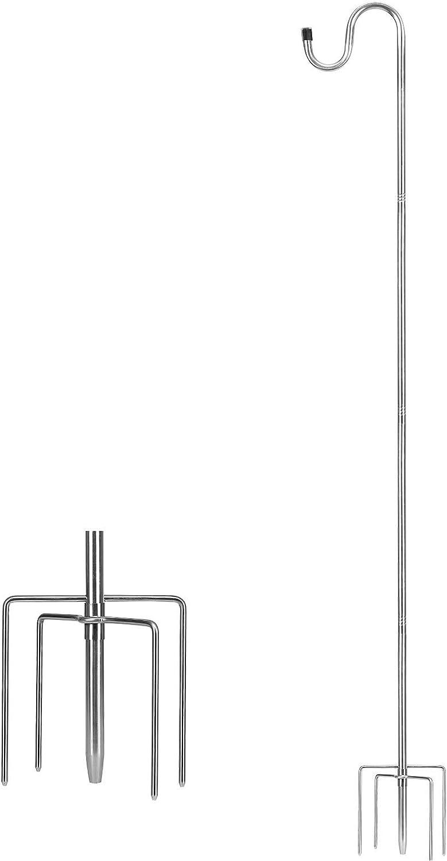 TALITARE Bird Feeder Pole,62 inch Shepherds Hook Heavy Duty 5 Prong Metal Hanger Hook Garden Plant Hooks for Hanging Solar Lights, Hanging Outdoor Plants,Lanterns, Bird Feeders,Planter Hanger(1 Pack)