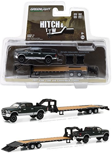 TOP Satisfied 1/64 HITCH&TOW 12 Green RAM 2500 with FLATBED GOOSENECK TRAILER