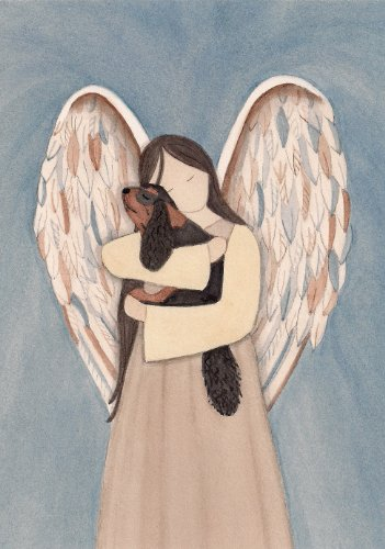 Cavalier King Charles Spaniel (black and tan) cradled by angel / Lynch signed folk art print