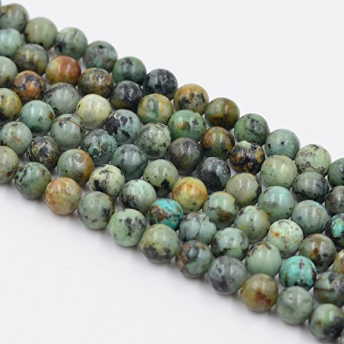Asingeloo Gorgeous Africa Turquoise Stone Beads Smooth Round Gemstone Loose Beads for Jewelry Making 6mm/15 inch a ()