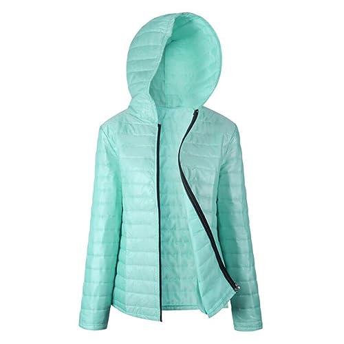 hibote Chaqueta de invierno de las mujeres de peso ligero Slim Warm Hooded Jacket Coat Outwear Hoodi...