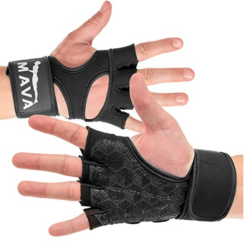 Cross Training Gloves with Wrist Support for Gym Workouts, WOD, Weightlifting & Fitness– Silicone Padded Workout Hand Grips Against Calluses with Integrated Wrist Wraps by Mava (Black, ()