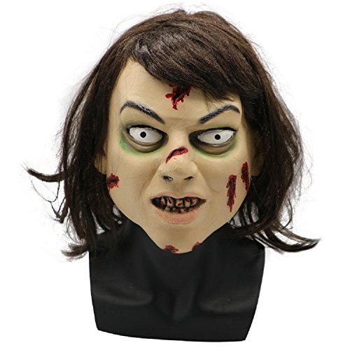 PONGONE The Exorcist Regan Mask Adult Full Face Helmet Halloween Cosplay Costume Prop