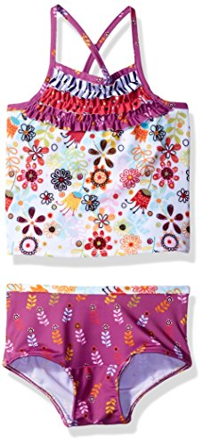 Jelly The Pug Little Girls' Tulip Floral Scarlett Tankini, Multi, 5