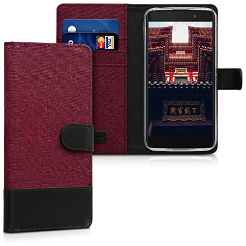 kwmobile Wallet Case for Alcatel Idol 4S - Fabric and PU Leather Flip Cover with Card Slots and Stand - Dark Red/Black