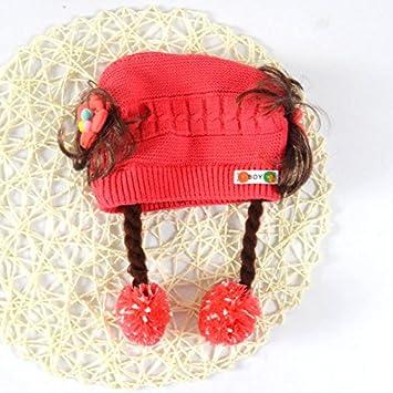 Wanglele La Boulette Cap Cap Cap Tricot Cordon Tête Ball Enfant  Automne-Hiver Hat Cap d650791ff52