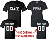CRAZYDAISYWORLD Clyde Bonnie PatternCustomized Text Name Design Couple T Shirt Size Men L Women L