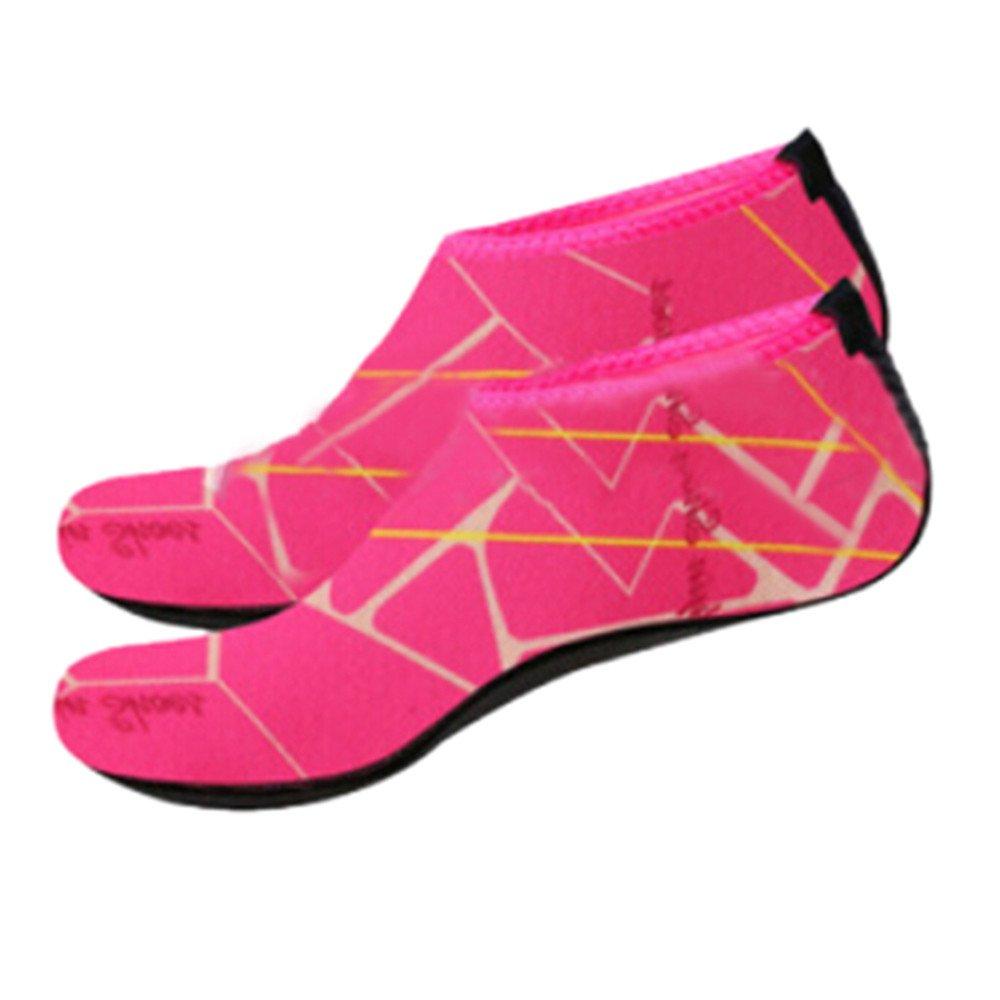 KESEELY Men Women Outdoor Water Sport Diving Swim Socks Yoga Soft Lighweight Beach Shoes Stretch Fabric Shoe Hot Pink