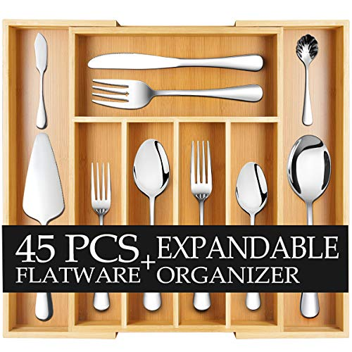 Teivio 45-Piece Silverware Set, Flatware Set Mirror Polished, Dishwasher Safe Service for 8, Include Knife/Fork/Spoon with Bamboo 5-Compartment Silverware Drawer Organizer Box