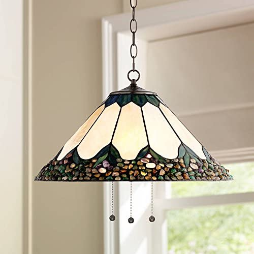 River Stone Bronze Tiffany Plug in Swag Pendant Chandelier 20 3 4 Wide Art Glass Fixture for Dining Room House Foyer Kitchen Island Entryway Bedroom Living Room – Robert Louis Tiffany
