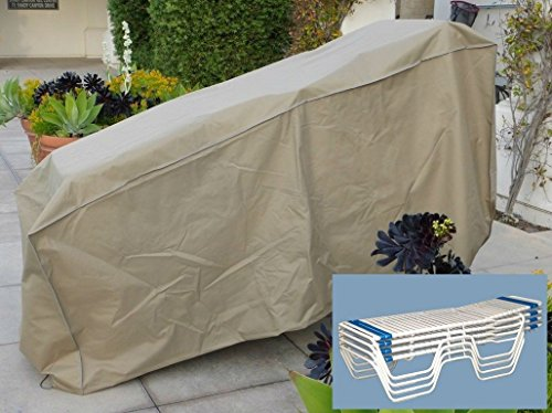 Premium Tight Weave Patio Stacking Chaise Lounge Cover Fits 4-8 Chairs Taupe (Sonoma Outdoor Furniture Covers)
