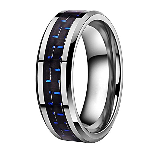 Unique Silver Inlay - 6mm Unique Durable Blue and Black Carbon Fiber Inlay Tungsten Ring for Couples Set Unisex Comfort Fit