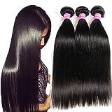 VRBest Hair Virgin Brazilian Straight Human Hair Extensions 4 Bundles Unprocessed Brazilian Virgin Hair Weave Bundles Natural Black Color (20 22 24 26)