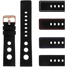 StrapsCo Rubber GT Rally Racing Watch Band w/Rose Gold Buckle - Quick Release Strap - 18mm 20mm 22mm 24mm