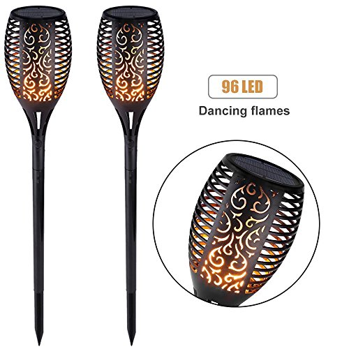 Torch Deck Light - Solar Light Outdoor Dancing Flickering Flames Torches Lights Waterproof 96 LED Lantern Wireless Lighting Lamp for Garden Pathways Yard Patio(2 Pack)