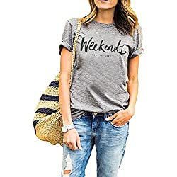 Women's Weenkend Tshirt Summer Street Tops Funny Juniors Cuffed Sleeve Tees M