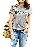 Women's Weenkend Tshirt Summer Street Tops Funny Juniors Cuffed Sleeve Tees M