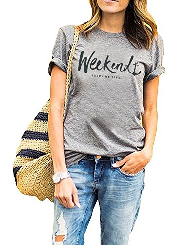 ZAWAPEMIA Women's Weenkend Tshirt Summer Street Tops Funny Juniors Cuffed Sleeve Tees L, Gray2