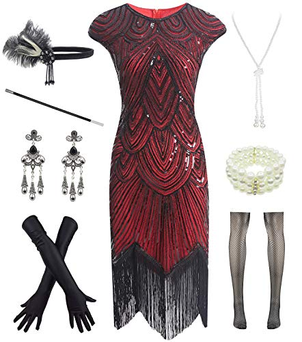 Women 1920s Vintage Flapper Fringe Beaded Gatsby Party Dress with 20s Accessories Set (3XL, Black Red) ()