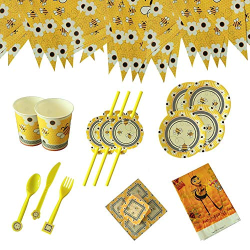 Bunting Bee Bumble - HomMall Bumble Bee Disposable Paper Party Supplies Bee Party Bunting, Disposable Plates, Napkins,Table Cover, Cups, Straws