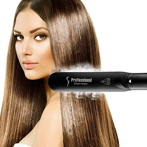 Steam Straighteners for Hair, Professional Salon Ceramic Tourmaline Vapor Steam Flat Iron Hair Straightener, Dual Voltage 2 in 1 Straightening Curling, LED Display with Adjustable Temp. by DORISILK (Image #2)