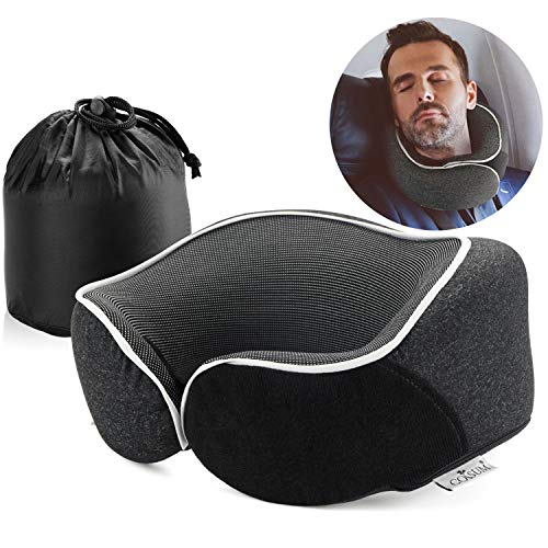 Coisum Travel Pillow Neck Pillow for Airplane Travel, 100% Pure Memory Foam Airplane Pillow,Contoured Design for Neck…