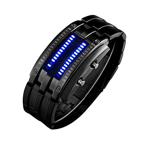 Bozlun Stylish Binary Watches - LED and Waterproof - Black (Decimal Watch)