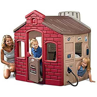 LBLA Playhouse Paper House Cardboard Playhouse for Kids Creative Coloring House for Kids and 31.7 in Tall with Easy Assembly