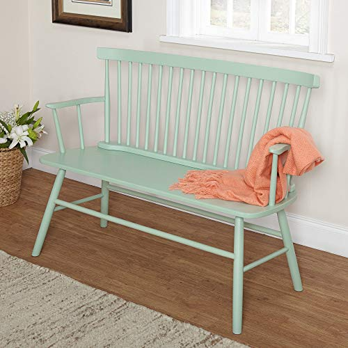Target Marketing Systems Shelby Wooden Bench with Spindle Back and Arms, Mint (Bench Indoor Seat)