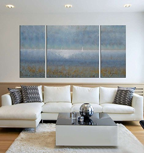 ARTLAND Hand-painted 30x60-inch 'Fuzzy Dream'3-piece Gallery-wrapped Abstract Oil Painting on Canvas Wall Art Set by ARTLAND
