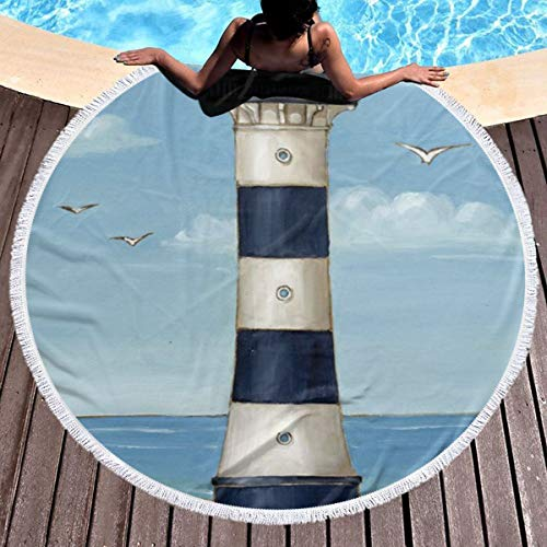 Trikahan Beach Towel Cape Canaveral Lighthouse Towels with Tassel Microfiber Oversized Round Picnic Mat Tapestry Table Cover Blanket ()