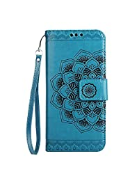 CUSKING Wallet Case for Samsung Galaxy A8 2018, Leather Case Magnetic Stand Bumper Case with Card Holders and Hand Wrist - Blue