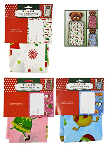 "Set of 3 - 36"" x 44"" Giant Gift Bags With Tag - 3 Christmas Themes and Colors Including Pink, Blue, and White!"